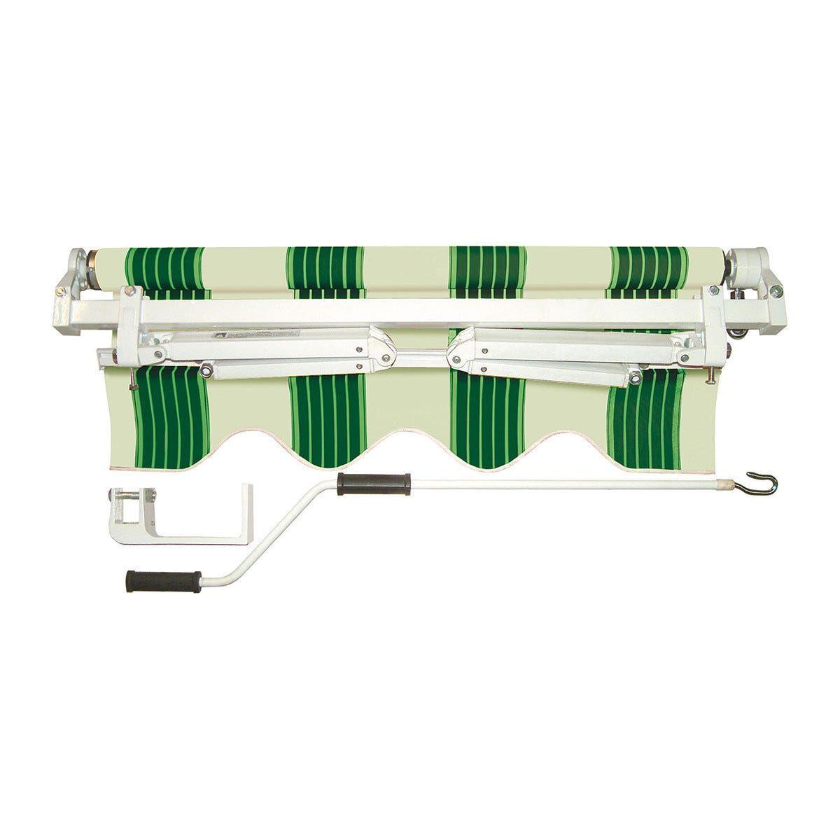 Tenda Da Sole A Barra Quadra Rigato Verde 395x300 Cm (Lxp)