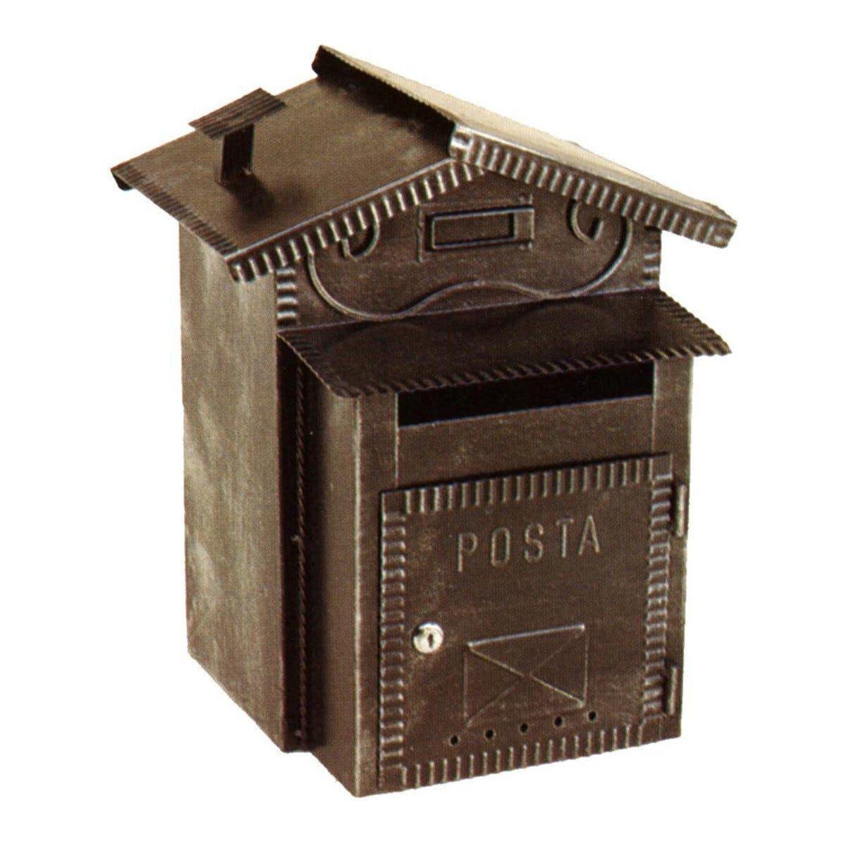 Cassetta Lettere E Portapane Per Esterno Ferro Battuto Nero 41x27x27 Cm (Lxhxp)