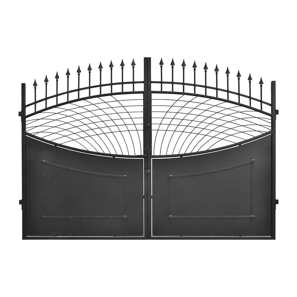 Cancello Camelot 300x120 Cm (Lxh) Zincato Verniciato Nero Galvanizzazione A Fuoco