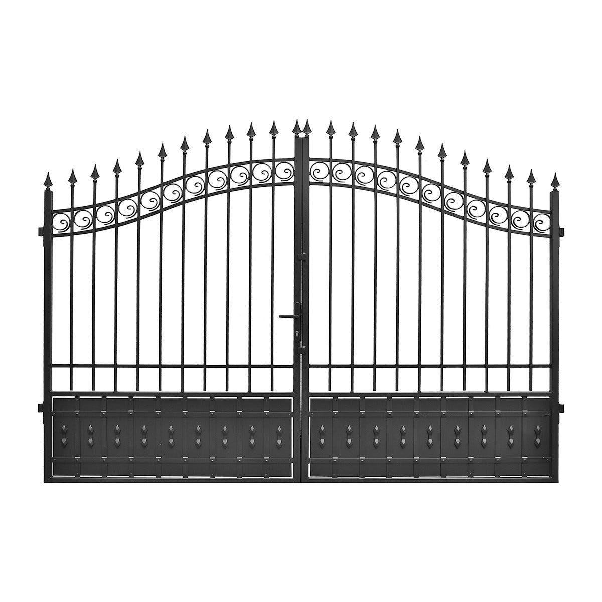 Cancello Artu' 350x210 Cm (Lxh) Zincato Verniciato Nero Galvanizzazione A Fuoco