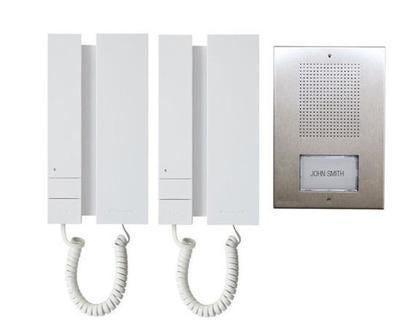 comelit kit citofonico bifamiliare  audio5 a 5 fili espandibile da parete o incasso