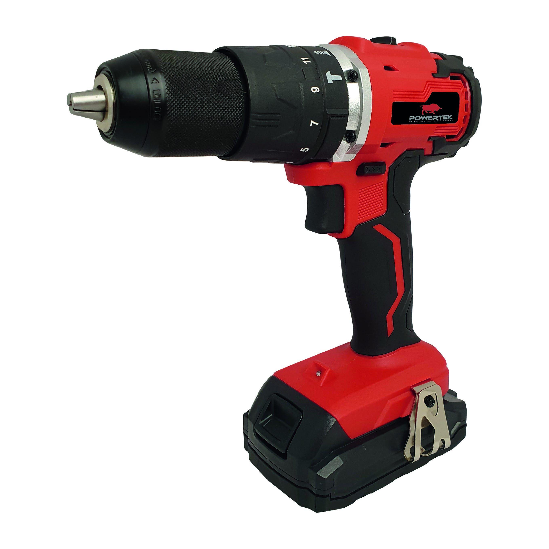 Trapano Battente 20 V Powertek Batteria Litio 1,5 Ah Brushless Peso 1,7 Kg