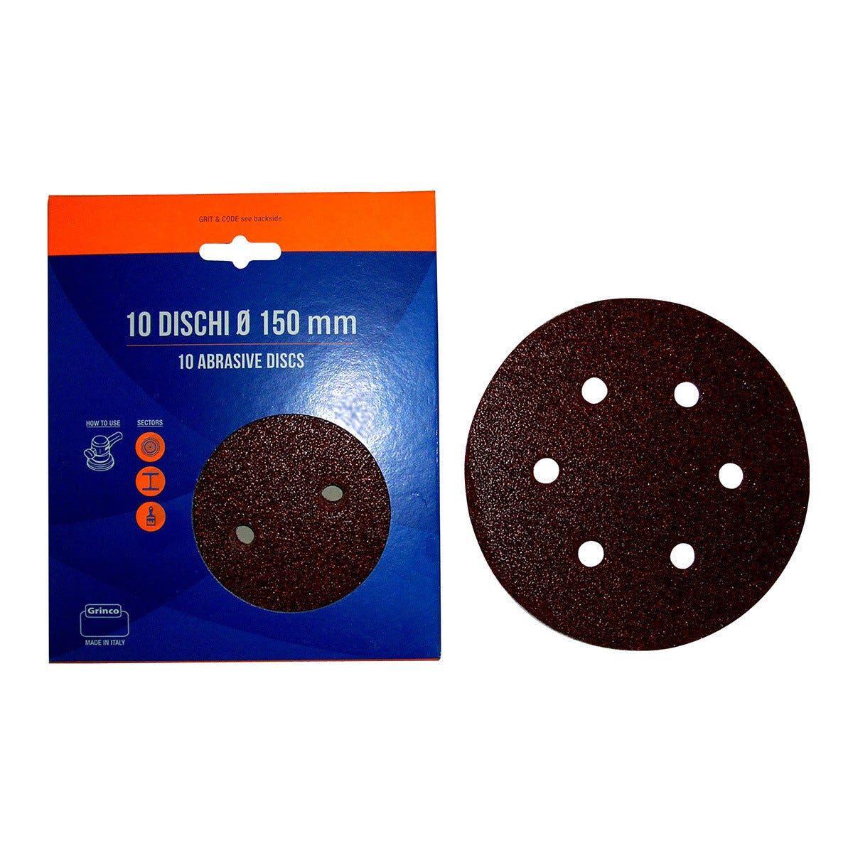 10 Dischi Abrasivi 150 Mm Grana 120 6 Fori Con Velcro