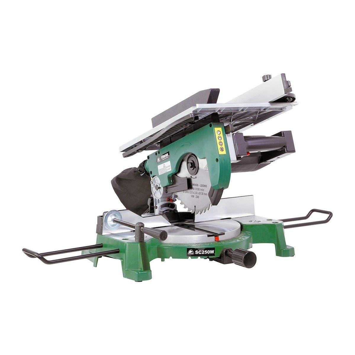 stayer troncatrice 1800 w  250 mm sc250w con piano taglio 45° 90x75 90° 120x80 mm lama 250 mm