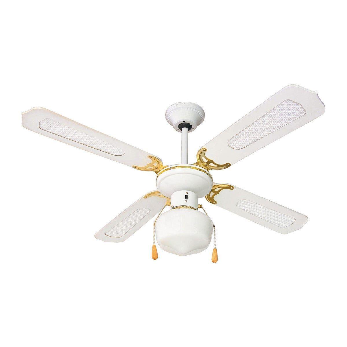 ventilatore da soffitto 4 pale Ø 107 cm bianco con rattan luce e comando a cordicella