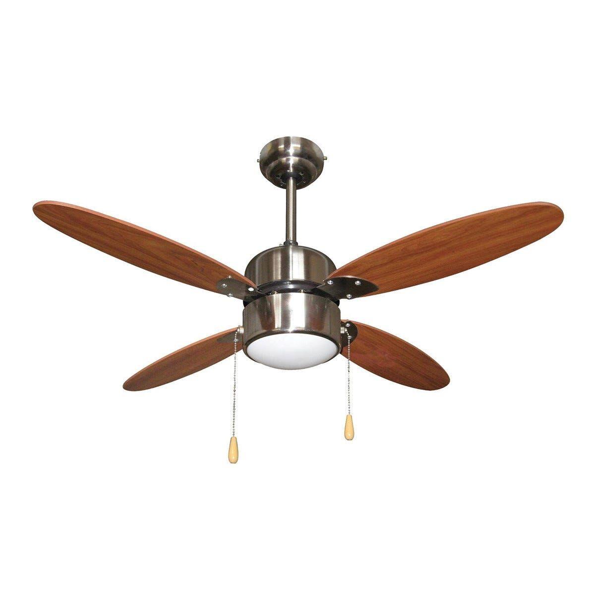 ventilatore da soffitto 4 pale Ø 105 cm marrone con luce e comando a cordicella 3 velocita'