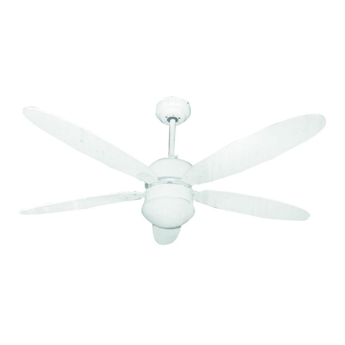 ventilatore da soffitto zephir Ø 130 cm 5 pale bianco con luce e telcomando
