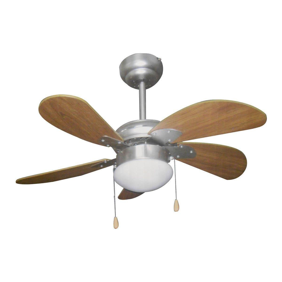 ventilatore da soffitto 5 pale Ø 76 cm con luce e comando a cordicella colore noce