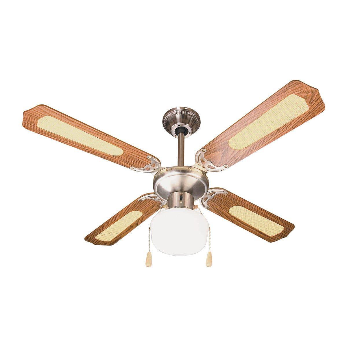 ventilatore da soffitto 4 pale Ø 105 cm marrone con rattan luce e comando a cordicella