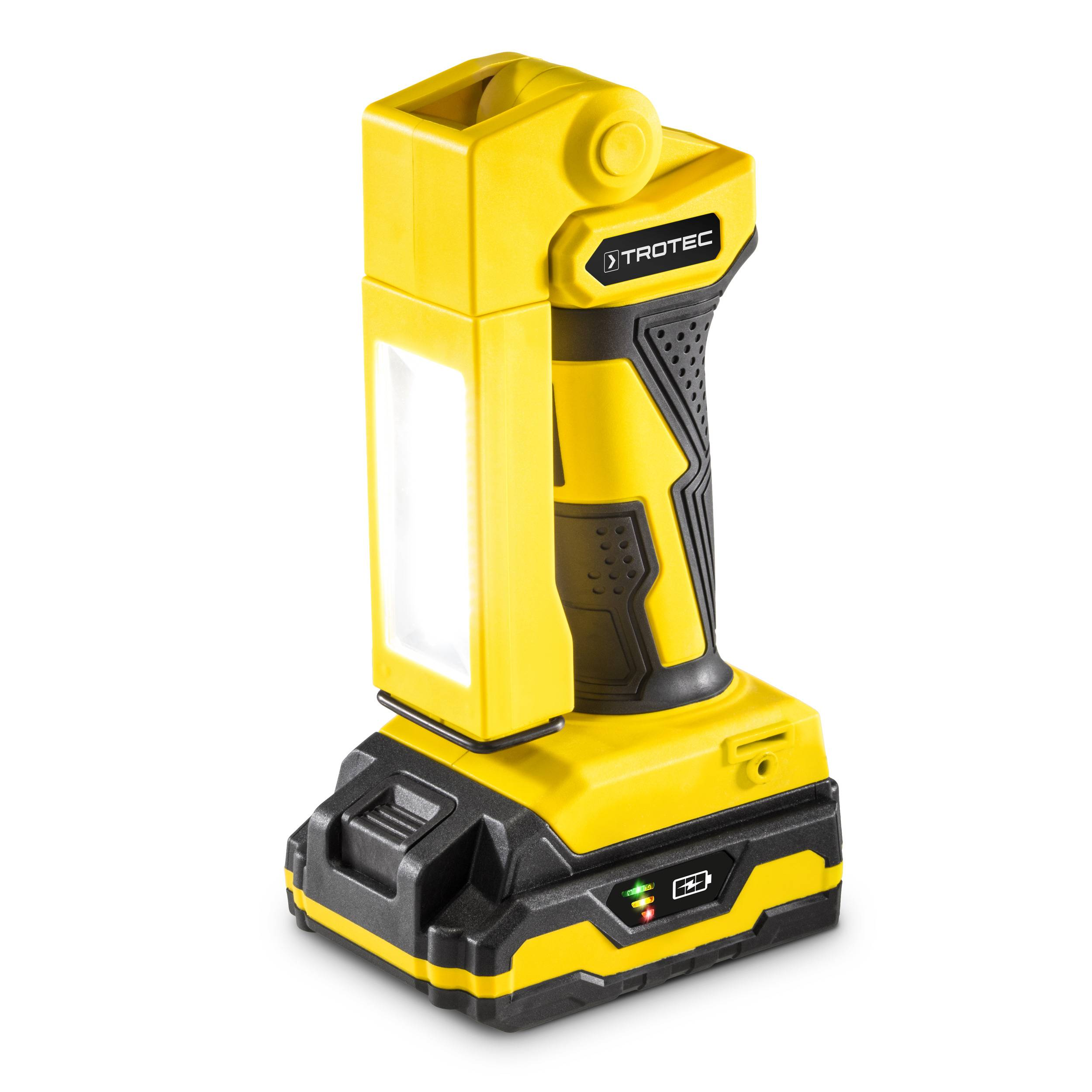 trotec luce da lavoro a batteria pwls 10-20v + cesoie per erba e arbusti a batteria pgss 10-20v