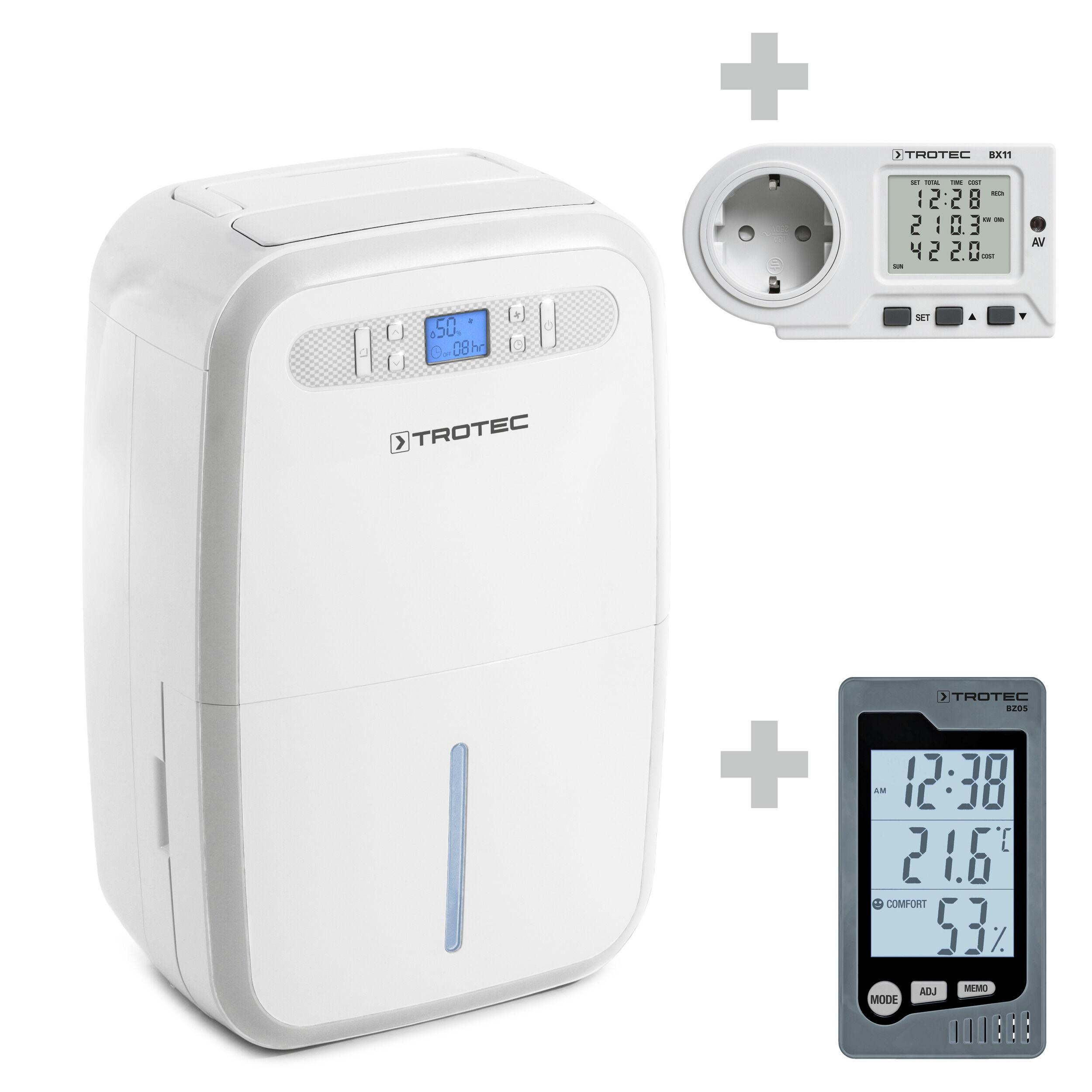 trotec deumidificatore ttk 95 e + termoigrometro bz05 + misuratore dei costi energetici bx11