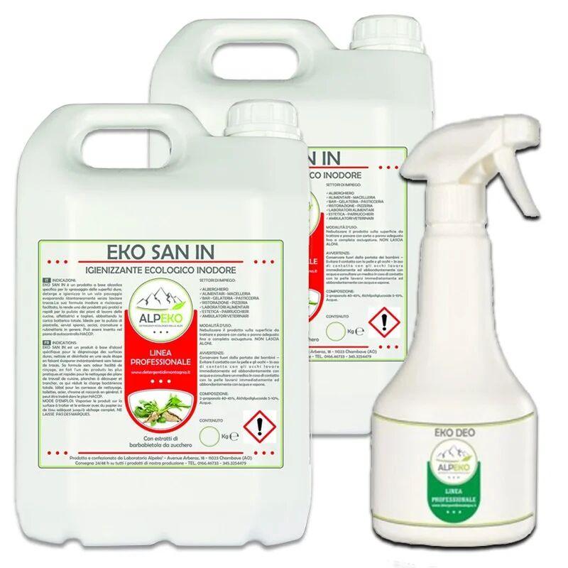 Alpeko EKO SAN IN Prodotto igienizzante e detergente, idoneo HACCP. N. 2 Taniche da 5 Kg Materiale Igienizzante