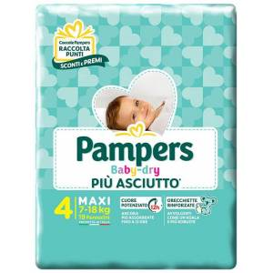 Fater Spa Pannolini Per Bambini Pampers Baby Dry Downcount No Flash Maxi 19 Pezzi
