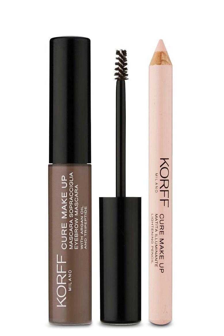 korff cure make up kit sopracciglia con mascara sopracciglia 01 + matita illumin
