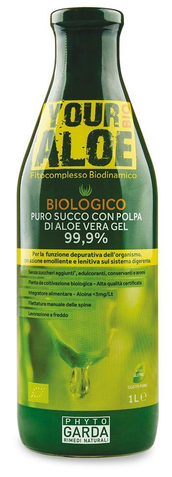 phyto garda your aloe bio puro succo con polpa di aloe vera gel 99,9% 1litro per la funzione