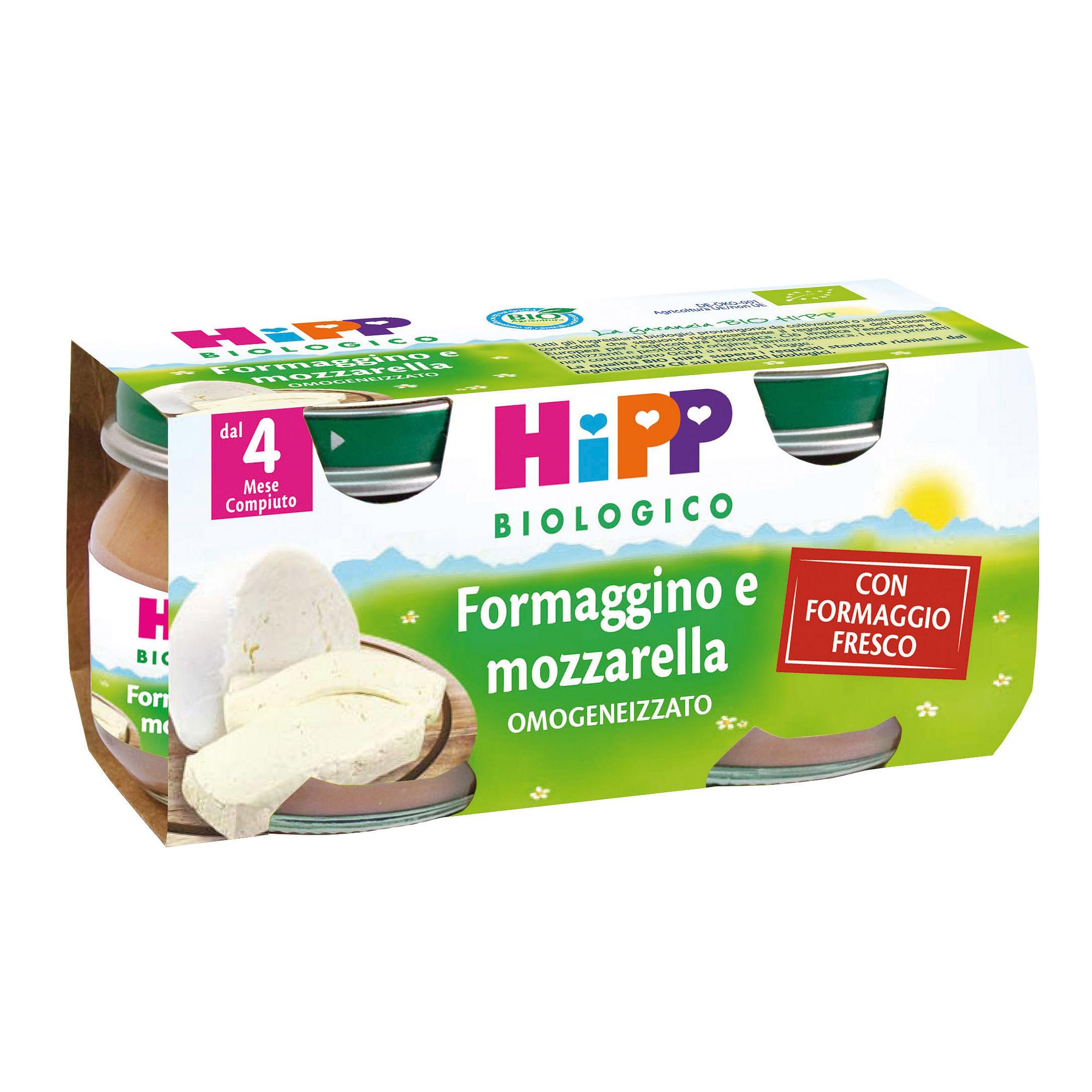 hipp bio  bio omogeneizzato formaggino mozzarella 2x80 g