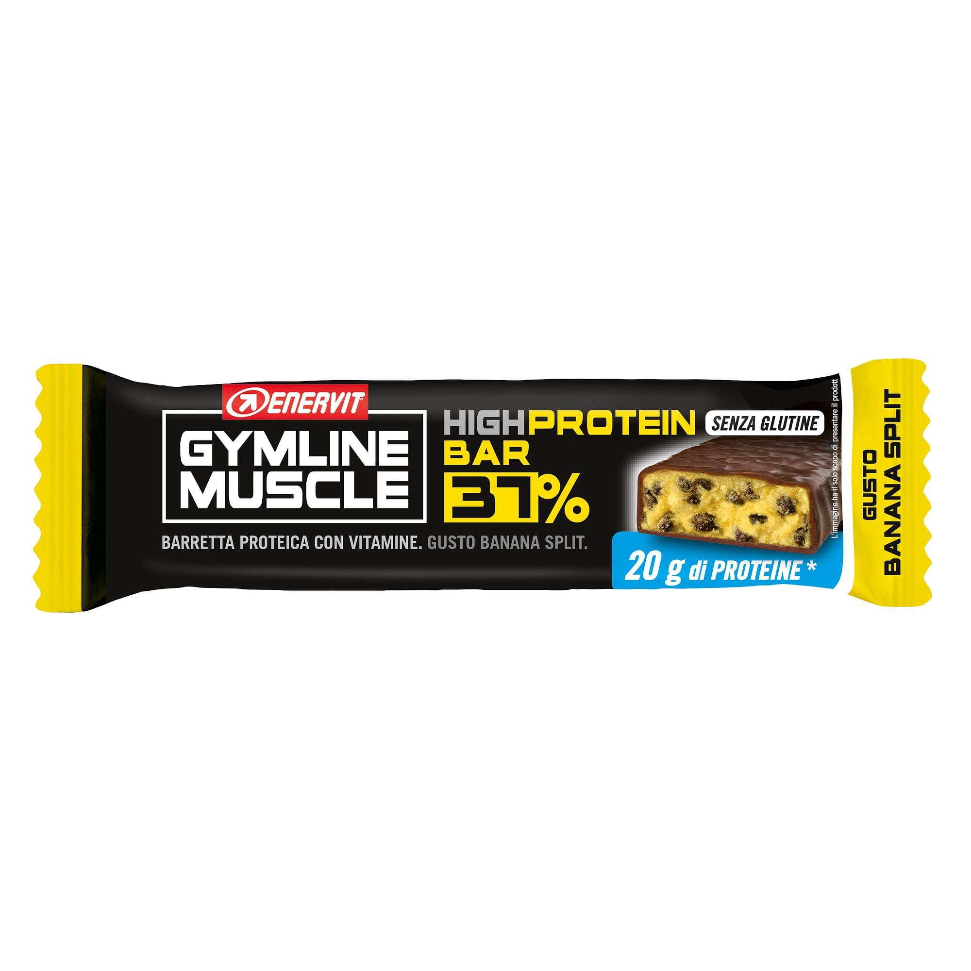 enervit gymline muscle high protein bar 37% banana split 54 g