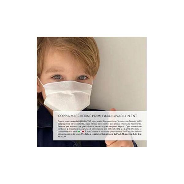angelo carillo & c. spa primi passi set 2 mascherine privi di lattice e di gomma naturale in tessuto non