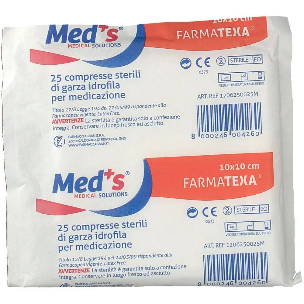 farmac zabban garza meds 12/8 10x10 cm 25 pezzi