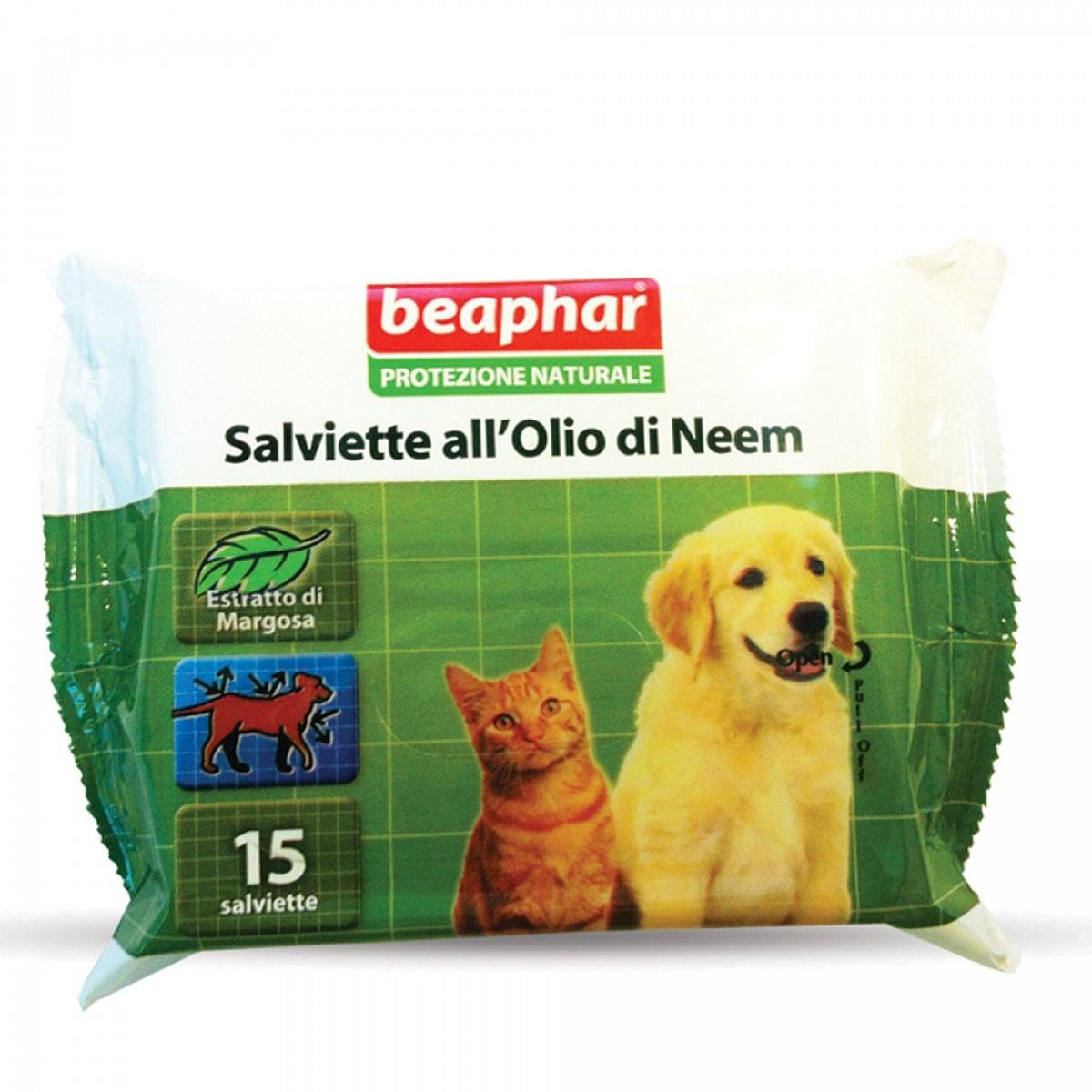 beaphar b.v. protezione naturale salviette al neem 15 pezzi