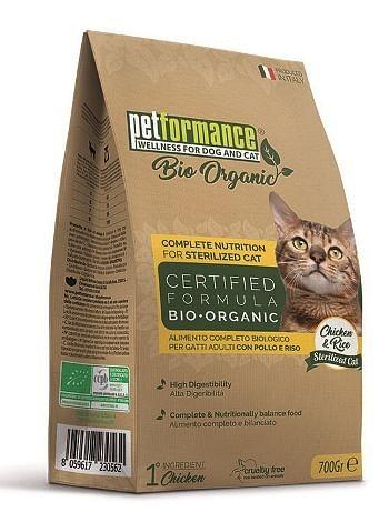petformance bio crocchette sterilizzati pollo e riso gatto 700 g