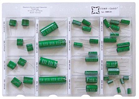 Nova Kit di condensatori  , Condensatori con sistema Comp-Card (supercondensatori) Su foro, 38 pezzi, SMS-01
