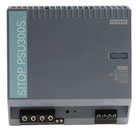 Siemens Alimentatore a montaggio su guida DIN SITOP PSU300S, 960W, 24V cc max, 40A, 1 uscite, 150 x 150 x 145mm 340, 6EP1437-2BA20