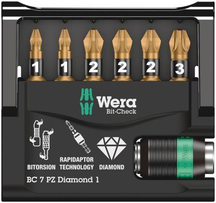 Wera Set inserti cacciavite , 7 pezzi in Punte al diamante, 073534
