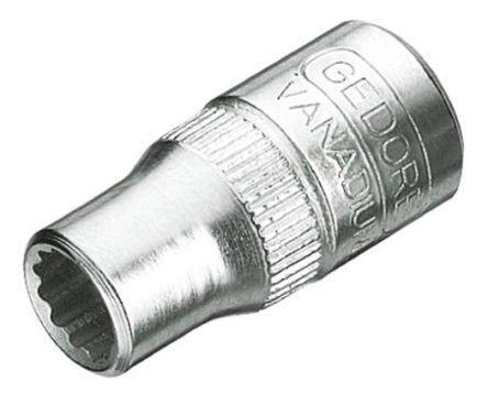 Gedore Bussola Bi-esagonale  , 11mm, attacco Quadrato 1/4 poll., lunghezza 25 mm, Acciaio al vanadio, D 20 11