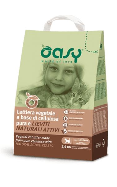 oasy lettiera vegetale per gatti a base di cellulosa pura e lieviti naturali attivi 6lt
