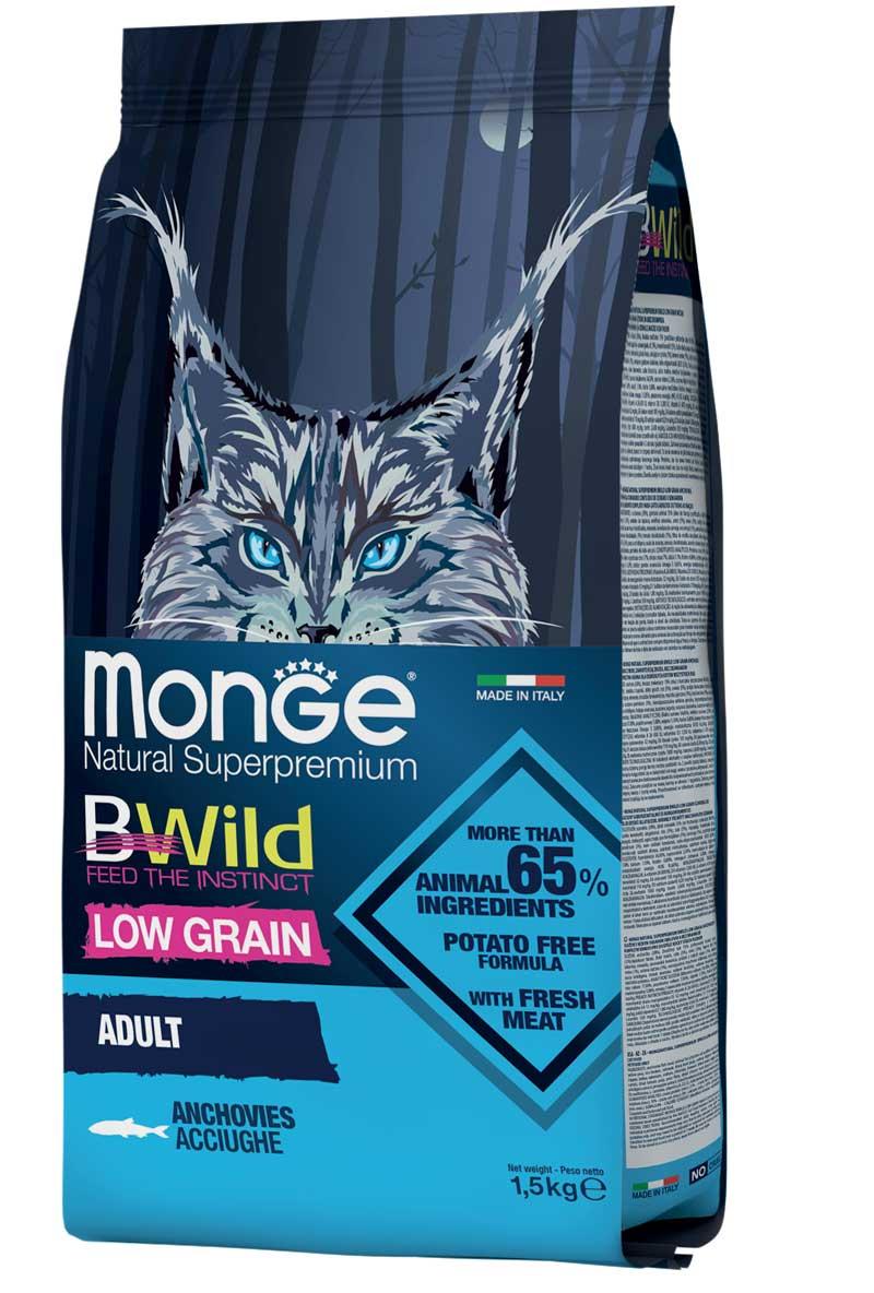 monge bwild cat adult low grain con acciughe 1,5kg