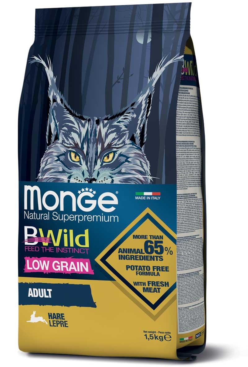 monge bwild cat adult low grain con lepre 1,5kg