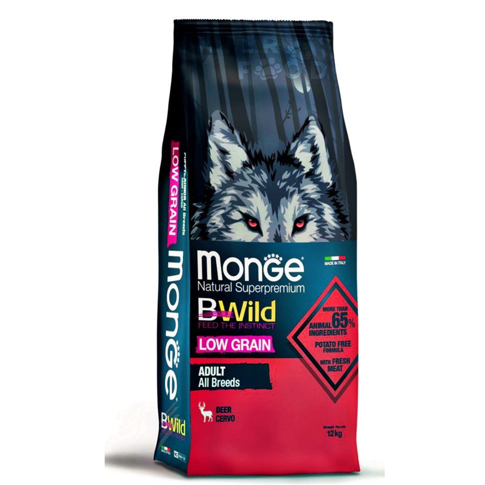 monge bwild dog adult low grain all breeds con cervo 12kg