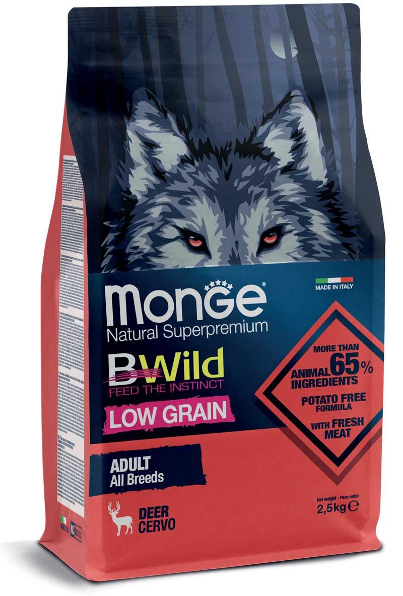 monge bwild dog adult low grain all breeds con cervo 2,5kg