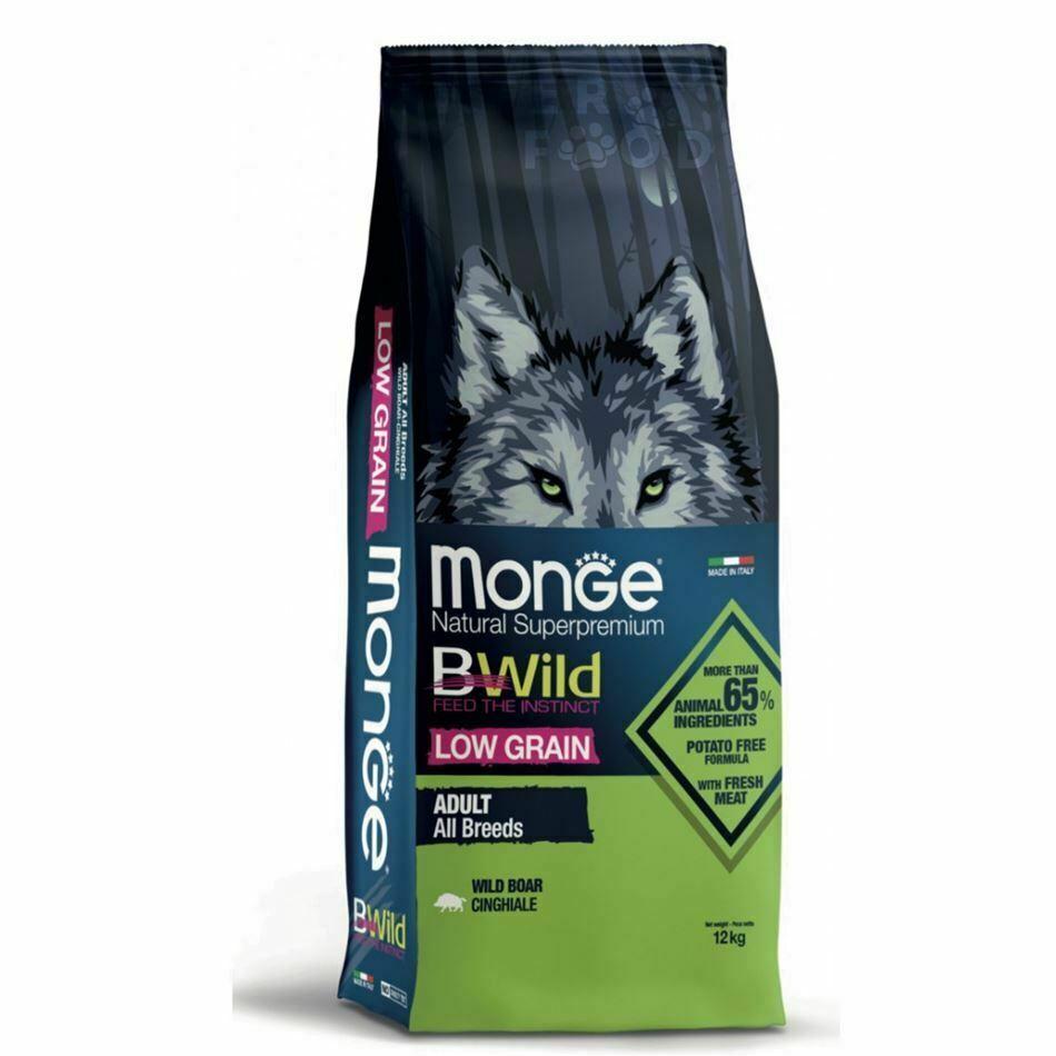 monge bwild dog adult low grain all breeds con cinghiale 12kg