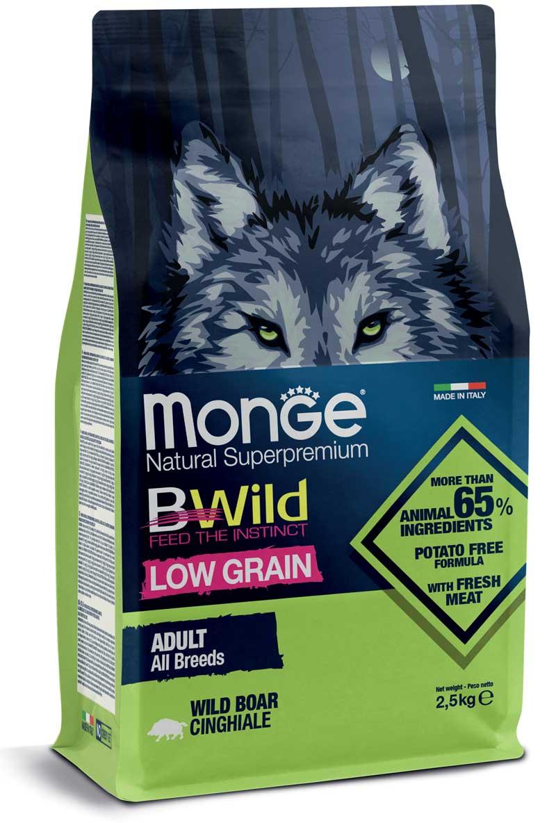 monge bwild dog adult low grain all breeds con cinghiale 2,5kg