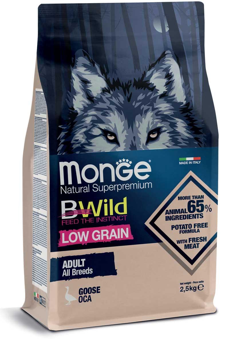 monge bwild dog adult low grain all breeds con oca 2,5kg