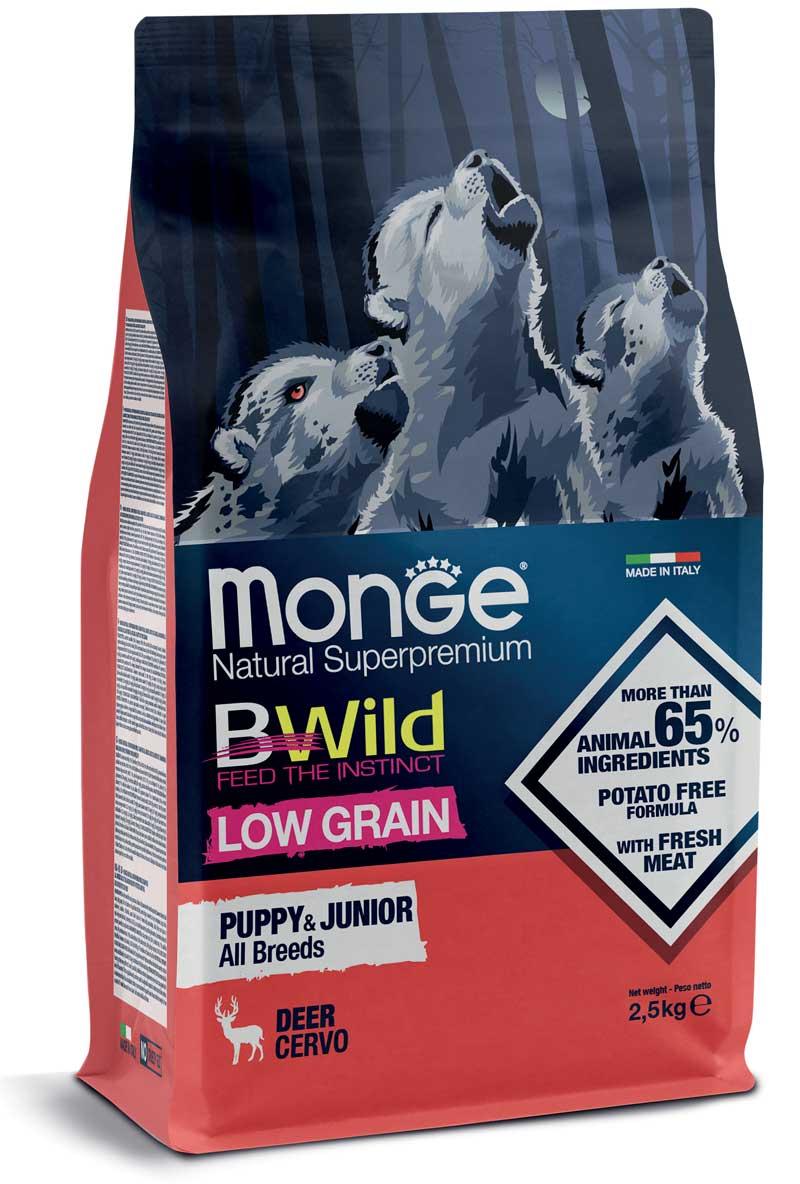 monge bwild dog low grain all breeds puppy&junior con cervo  2,5kg