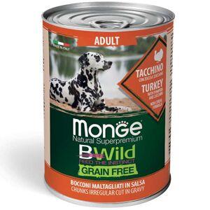 Monge Bwild Dog Adult Grain Free - Bocconi Maltagliati In Salsa Con Tacchino, Zucca E Zucchine 400g