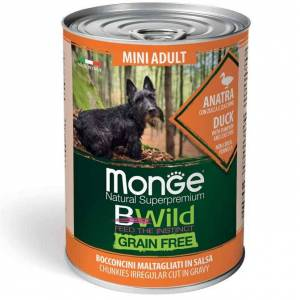 Monge Bwild Dog Mini Adult Grain Free - Bocconcini Maltagliati In Salsa Con Anatra, Zucca E Zucchine 400g