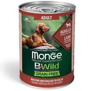 Monge  Bwild Dog Adult Grain Free - Bocconi Maltagliati In Salsa Con Agnello, Zucca E Zucchine 400g