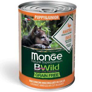 Monge Dog Bwild Grain Free Puppy & Junior - Bocconcini Maltagliati In Salsa Con Anatra, Zucca E Zucchine 400g