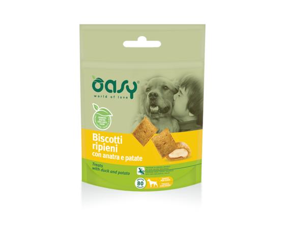 Oasy Snack Dog - Biscotti Ripieni Con Anatra E Patate 80 Gr
