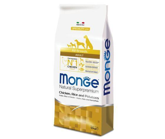 monge natural superpremium all breeds adult per cane con pollo, riso e patate 12kg