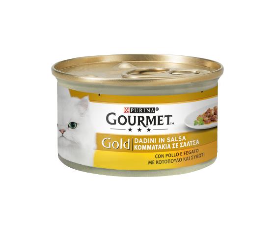 purina gourmet gold gatto dadini in salsa con pollo e fegato lattina 85g