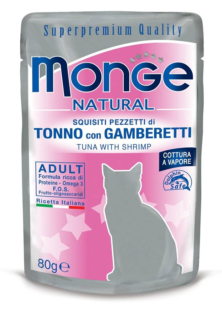 Monge Tonno Con Gamberetti Per Gatti Adulti 80g