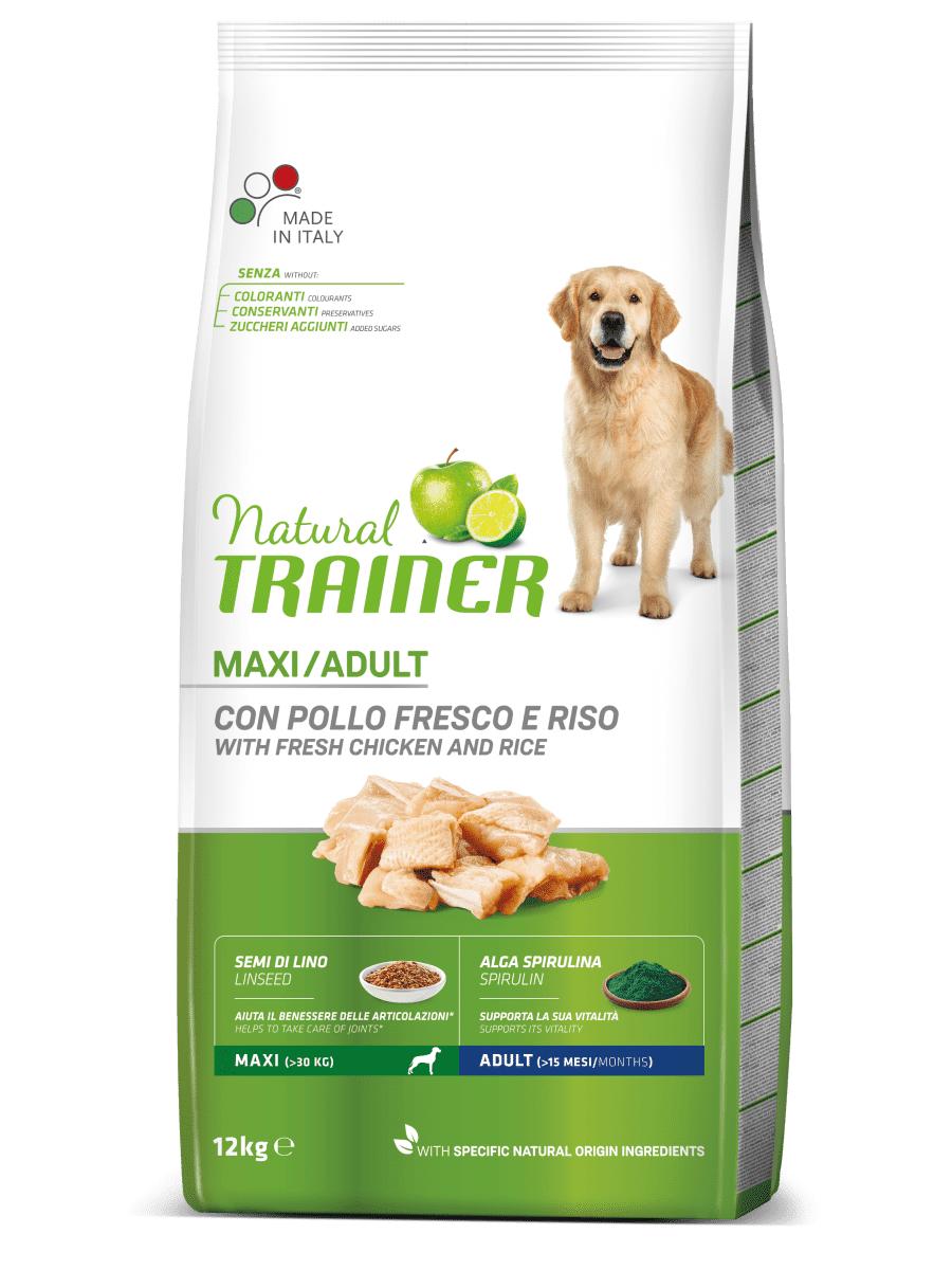 natural trainer cane maxi adult con pollo fresco e riso 12kg