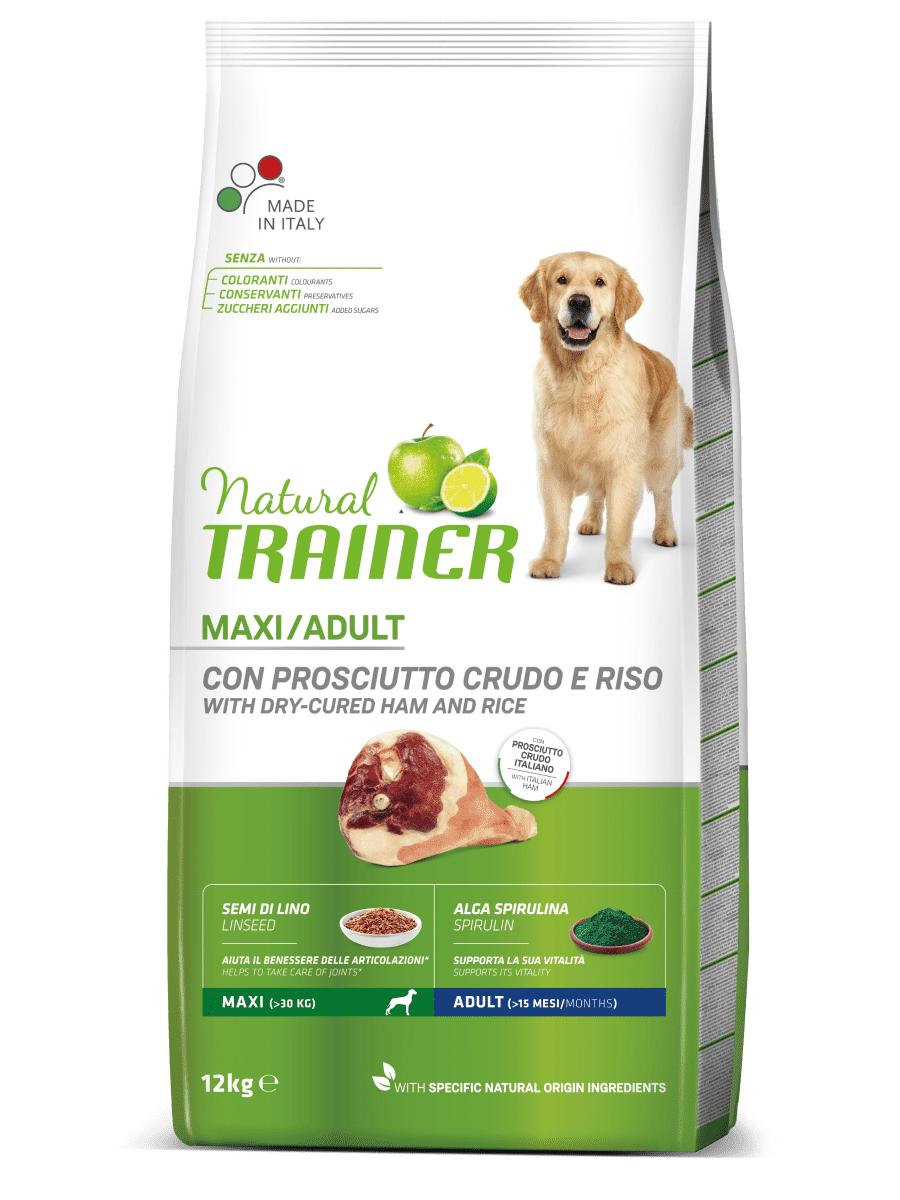 Natural Trainer Cane Maxi Adult Con Prosciutto Crudo E Riso 12kg