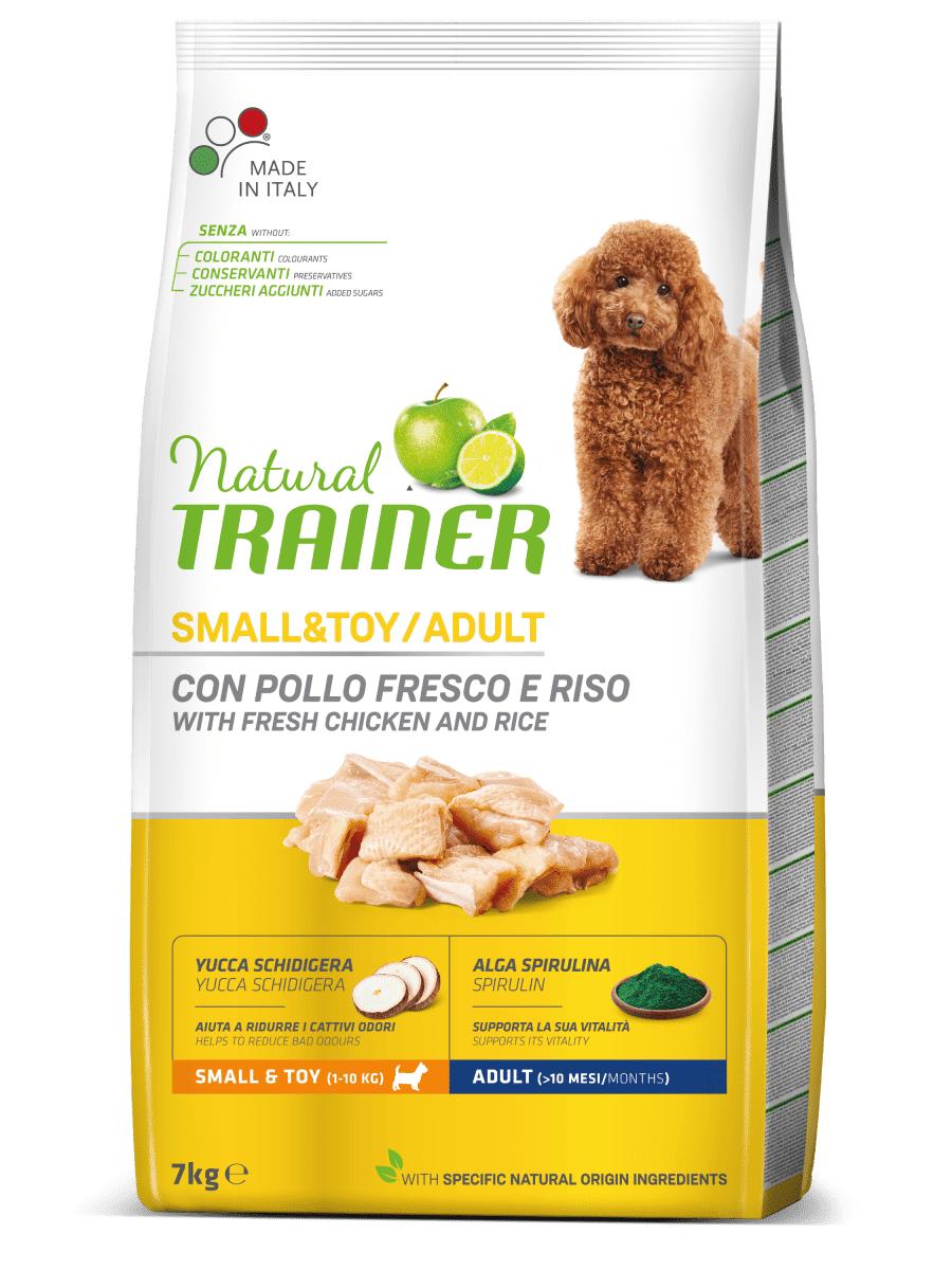 natural trainer per cane small&toy adult con pollo fresco e riso 7kg