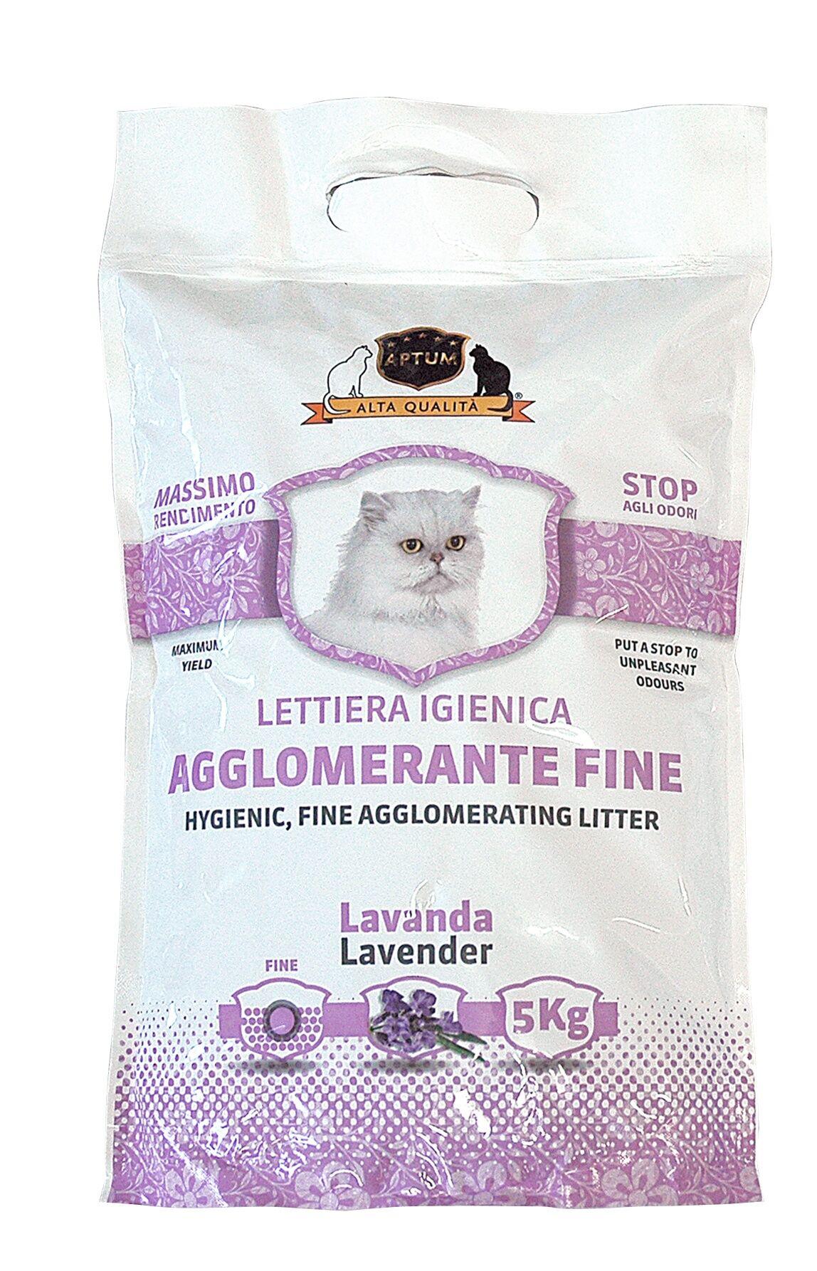 Aptum Lettiera Igienica Agglomerante Fine Con Fragranza Alla Lavanda 5kg